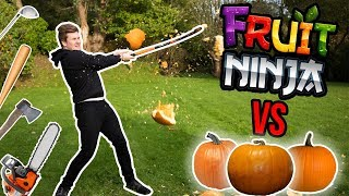 REAL LIFE FRUIT NINJA VS HALLOWEEN PUMPKINS (Slow Mo)