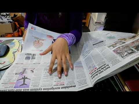 [ASMR] flipping newspapers (cutting news clippings at office)