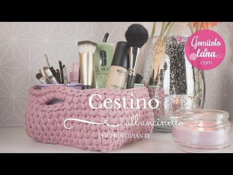 Cestino Alluncinetto A Fondo Quadrato Crochet Basket Gomitolo