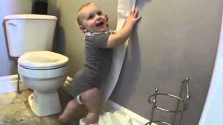 Baby Discovers Toilet Paper