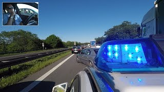 Einsatzfahrt der Autobahnpolizei - durch Rettungsgasse zum Unfall - Polizei kommentiert - POV GoPro