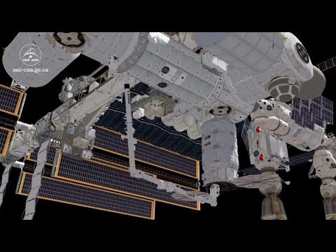 Animation of Canadarm2 catching a Cygnus resupply ship