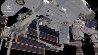 Animation of Canadarm2 catching a Cygnus resupply ship