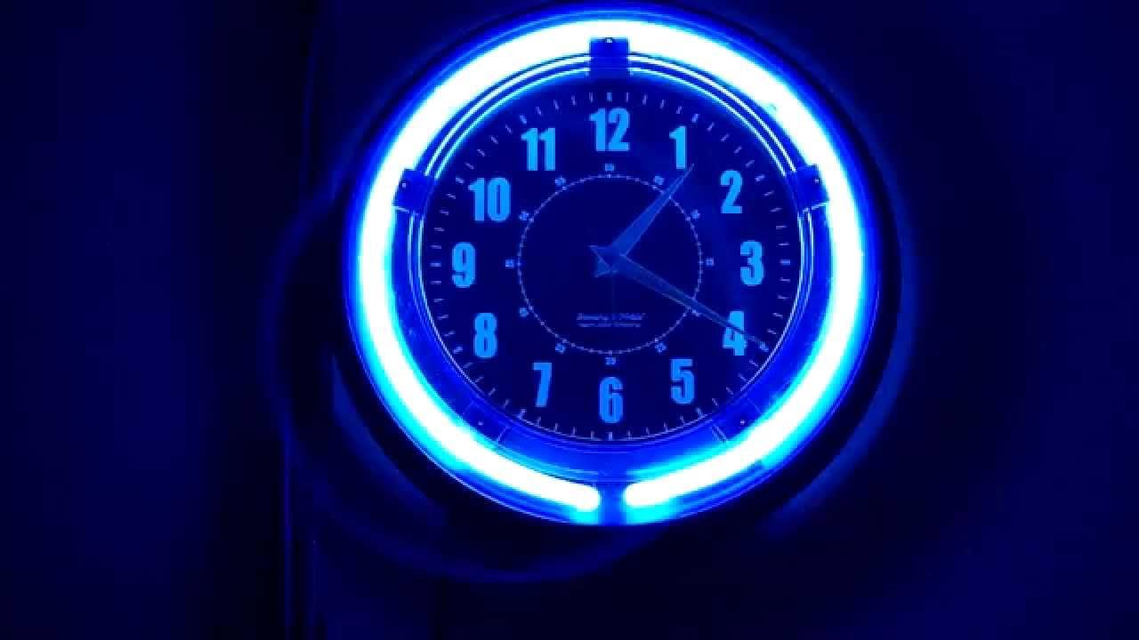 Blue Neon Wall Clock Youtube
