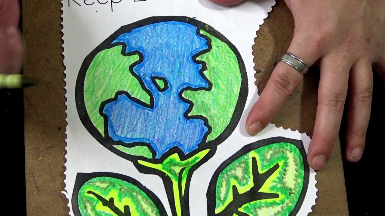Adult Coloring for kids with kids video with music: Earth Day ...