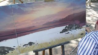 Модульная картина маслом. Морской пейзаж с волной. Oil painting speedpaint.