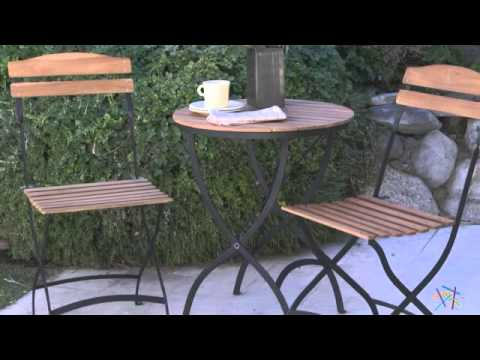 "French Café 24"" Folding Table Bistro Set - Product Review Video"