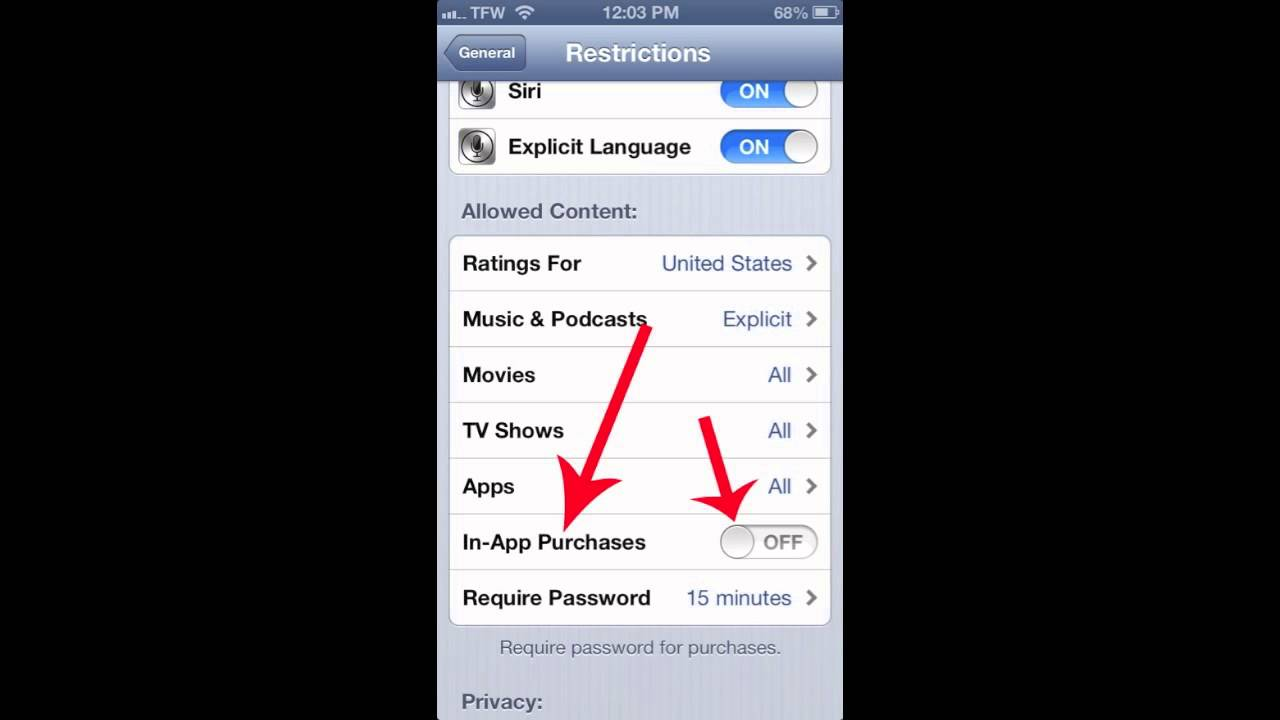 iPhone / iPad Parental Restrictions - Turn Off In-App Purchases