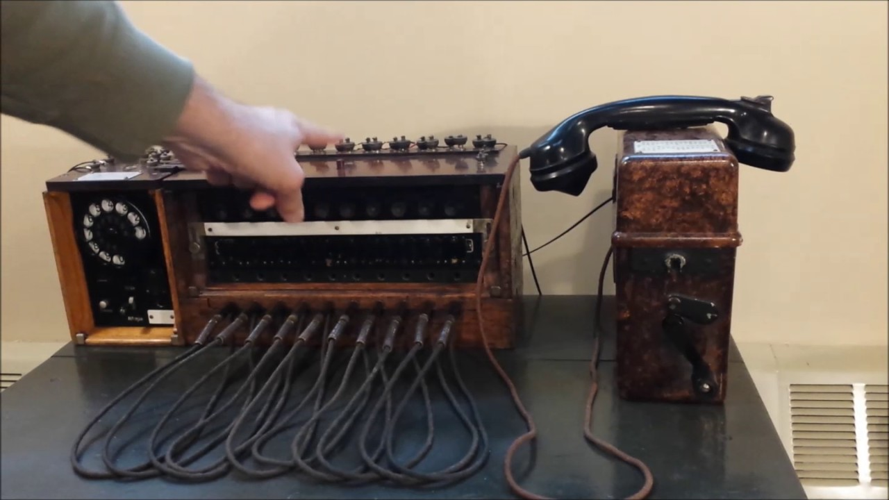 hight resolution of basic operation of a world war 2 german field telephone switchboard