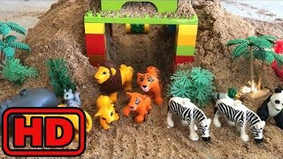 Kid -Kids -ZOO Animals On Lego Train/Lego Bridge Cave/Learn Names of Animals/Wheels on the bus For
