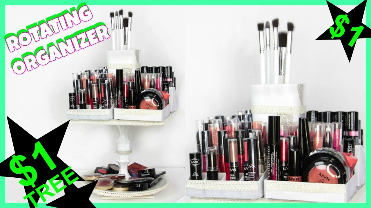 DIY Rotating Makeup Organizer Dollar Tree  YouTube