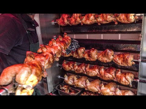 Dozens Of Chickens Roasted On The Road. Street Food Of London