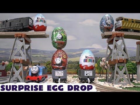 Surprise Eggs Hot Wheels Thomas The Train Surprise Toys Kinder Funny Bloopers Drop Smash Diesel 10
