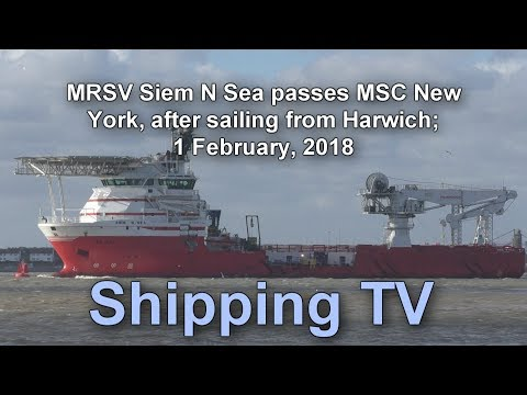 MRSV Siem N Sea sails from Harwich, 1 Feb 2018