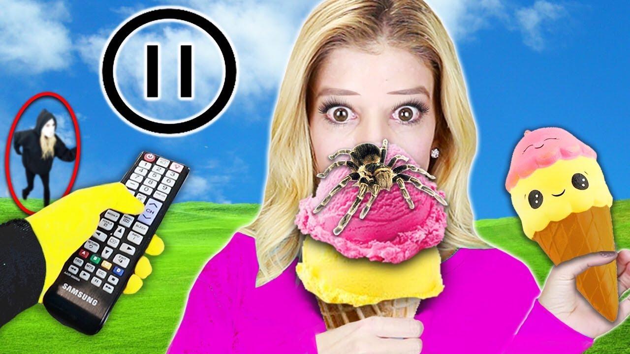 PAUSE CHALLENGE mit Rebecca Zamolo für 24 Stunden! Squishy Food vs. Real Food (Spielmeister-Spion gewinnt) + video