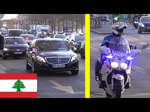 Lebanese Prime Minister Saad Hariri his convoy in Paris