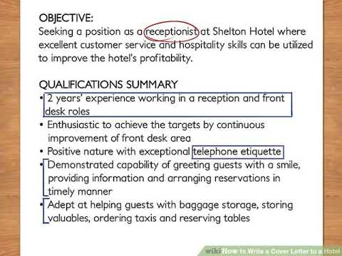 Write A Cover Letter To A Hotel