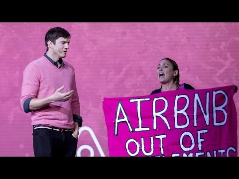 Ashton Kutcher Defends Airbnb From Protester