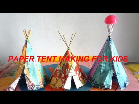 Kids Craft : Easy Paper Tent Making : How to make a paper tent house very easy for kids