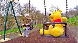 Playing with WINNIE the POOH in the Play Area For Kids Playground Fun with WINNIE THE POOH