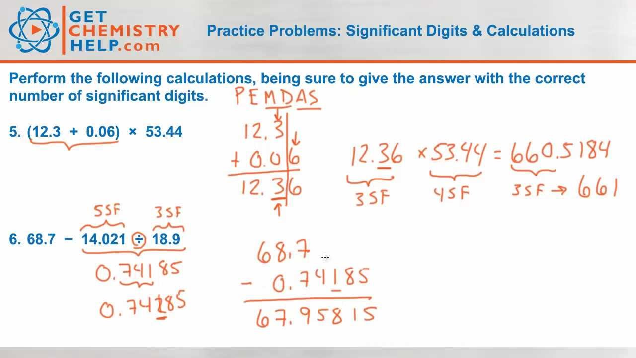 Chemistry Practice Problems: Significant Digits & Calculations