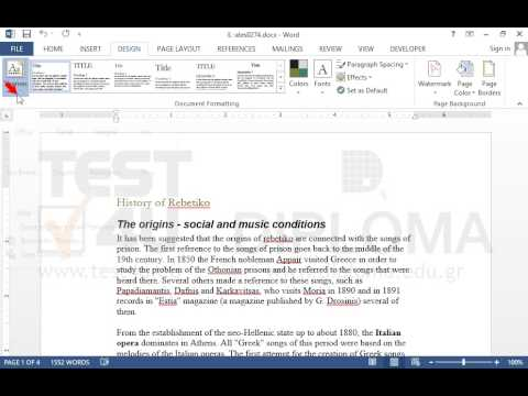 Change the document Theme to Office - YouTube