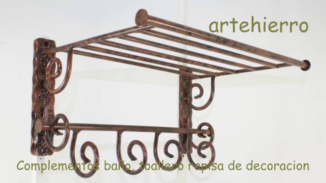 Complementos ba o toallero repisa de decoracion de forja for Toalleros de pie leroy merlin