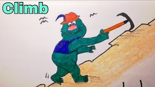 How to draw _ Easy Action Picture Words   Climb   New Video 2017