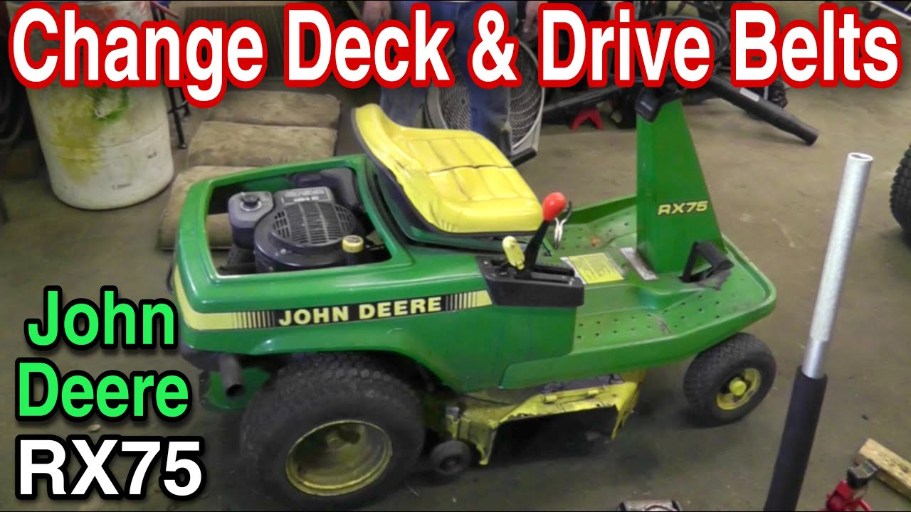 how to change the deck and drive belts on a john deere rx75 riding mower with taryl [ 1280 x 720 Pixel ]