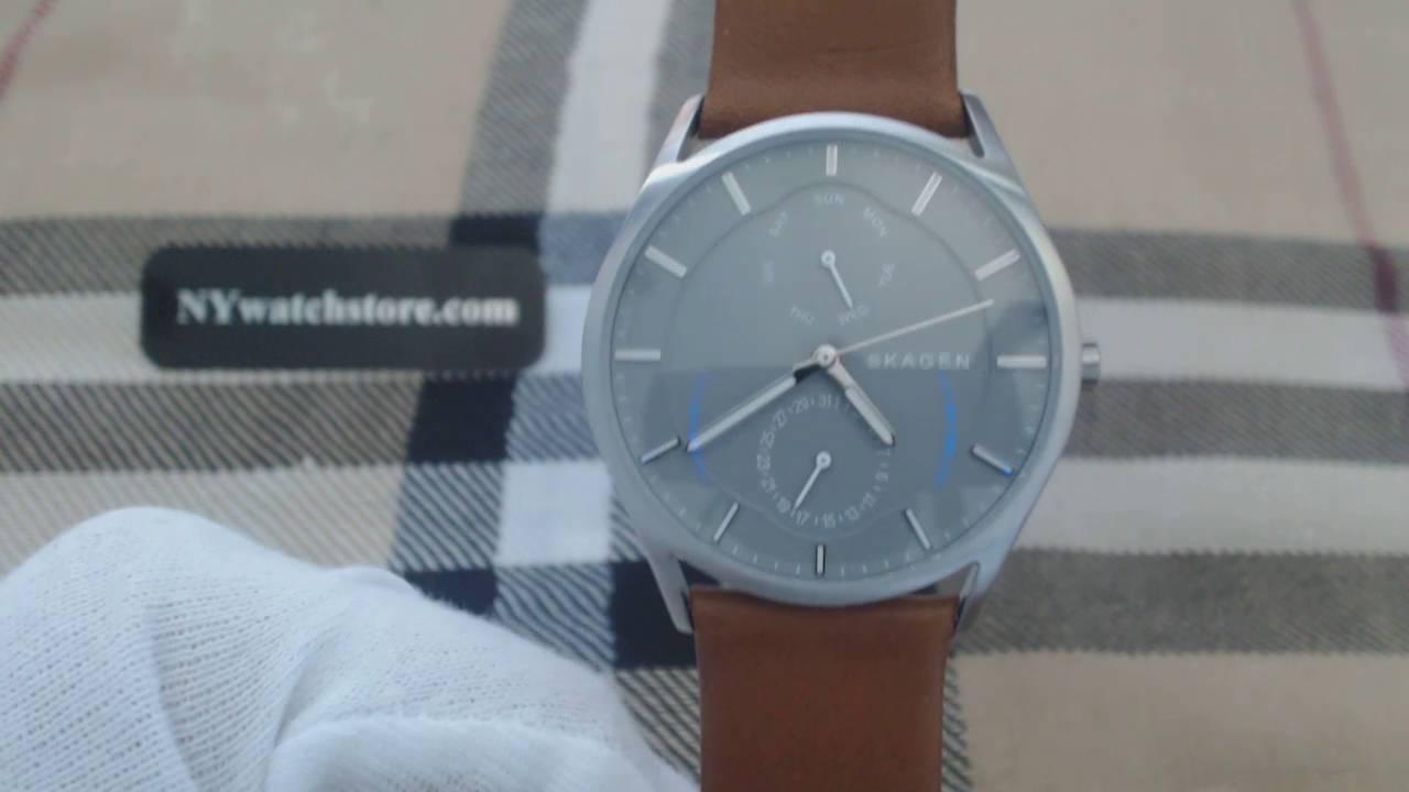 ce37b652bc16b6 Men s Skagen Holst Multifunction Leather Watch SKW6264 - YouTube