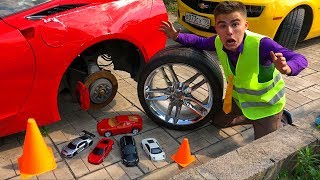 Mr. Joe found A LOT OF Toys Cars Corvette & Lamborghini VS Ferrari & Camaro in Car Wash for Kids
