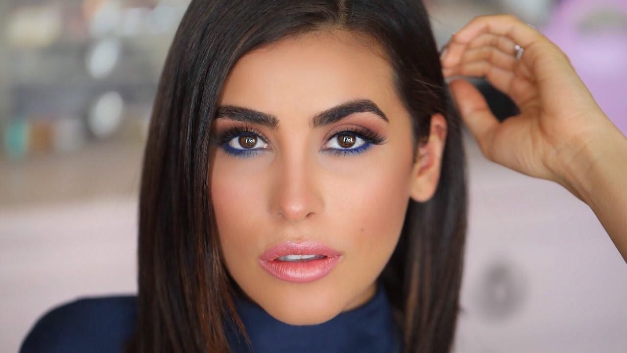 how to make brown eyes pop | blue eyeliner makeup tutorial (easy