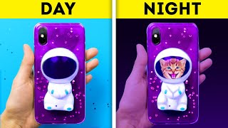 DAY VS NIGHT || 32 COOL DIY PHONE CASE CRAFTS THAT WILL AMAZE YOUR FRIENDS