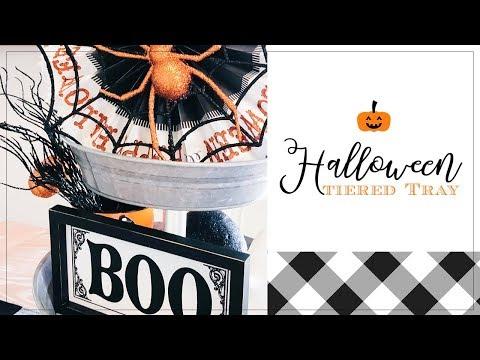 HALLOWEEN 3 TIERED TRAY| HALLOWEEN DECORATE WITH ME | FARMHOUSE HALLOWEEN