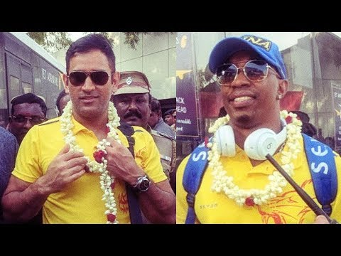 CSK Grand Welcome at Chennai Airport & Hotel   Dhoni
