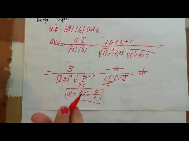 Vektorlar 3 Vektorlarin Skalyar Hasili Cevrenin Tenliyi Youtube