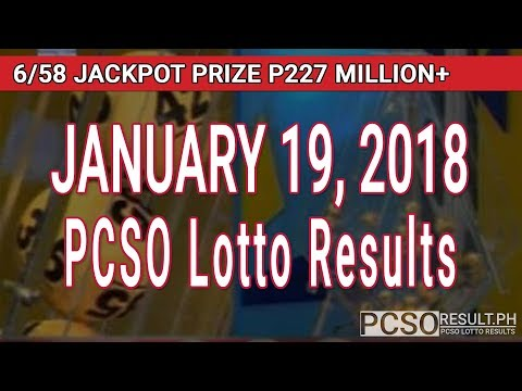 PCSO Lotto Results Today January 19, 2018 (6/58, 6/45, 4D, Swertres, STL & EZ2)