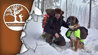 Winter Overnight in a Remote Cabin with Big Dog, Ice Fishing, Deep Snow and Northern Lights
