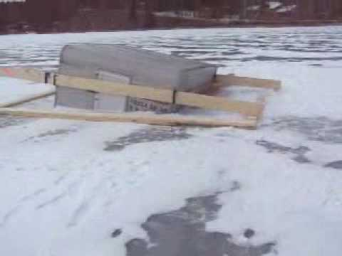Ice fishing house goes through ice youtube for Mn ice fishing regulations