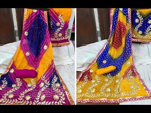 Beautiful Art Silk Dress Materials With Gota Patti Work   Multicolor Bandhani Materials (2020)