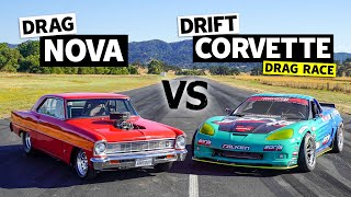'66 Big Block Nova  vs. 950hp Corvette (Drift vs. Drag Battle) // This vs. That