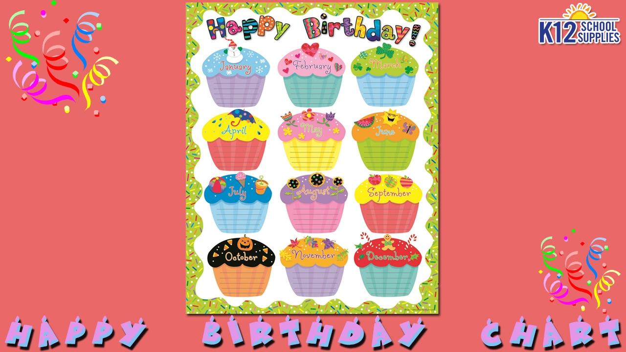 Best birthday chart happy teacher supplies also youtube rh