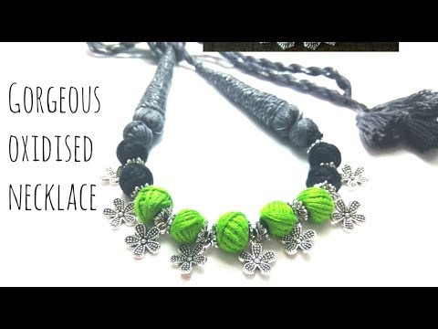Oxidized charms and cotton beads necklace || periwinkle TV