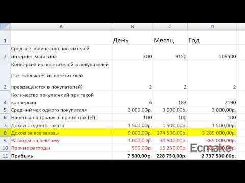 Бизнес план   Расчеты доходов и расходов интернет-магазина