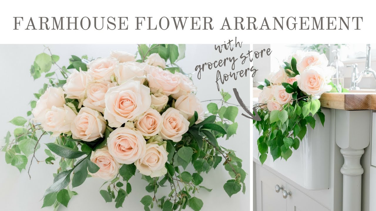 Diy Summer Floral Arrangement Diy Farmhouse Flower Arrangement With Grocery Store Flowers Youtube