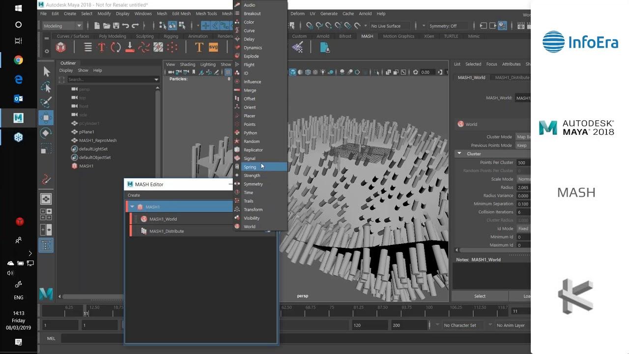 """3D efektų kūrimo galimybės su """"Autodesk Maya"""" ir MASH technologija"""