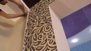 Секреты наклейки обоев возле натяжного потолка.Оформление примыкания к натяжному потолку(, 2014-04-06T23:00:18.000Z)