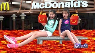 The Floor is LAVA Challenge at McDonald's! 😀😂 Kids Pretend Playtime Family Fun