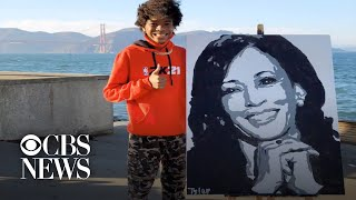 Kamala Harris calls teen artist who painted her portrait