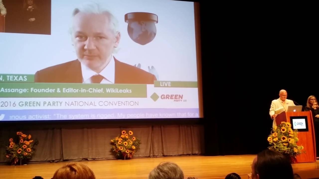 wiki leaks julian assange addressing green party via live feed wiki leaks julian assange addressing green party via live feed comment below